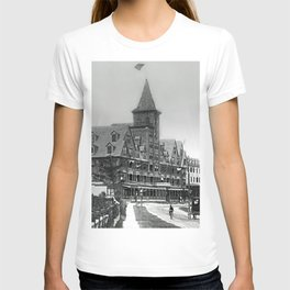 1885 Street View, Island of Jamestown, Rhode Island, Canonicus Ave. looking north at Thorndike Hotel T-shirt