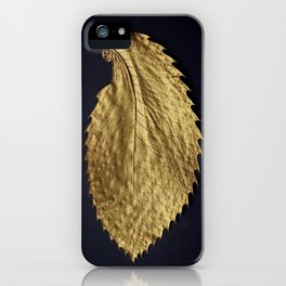 Gol Leaf Wings on Black iPhone Case