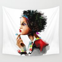 african Wall Tapestries featuring African woman by tatiana-teni