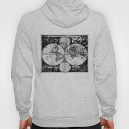 Vintage Map of The World (1685) Black & White Hoody