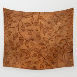 Brown Wood Carved Leafs Pattern Wall Tapestry