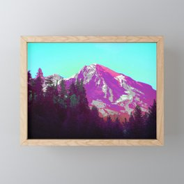 Mountain High Vaporwave Washington Forest Framed Mini Art Print