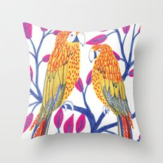 Yellow Parrots Throw Pillow