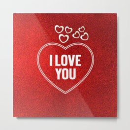 Lovely Hearts red Metal Print
