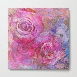 Artistic romantic pink roses Metal Print