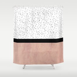 Pink marble and dots Shower Curtain
