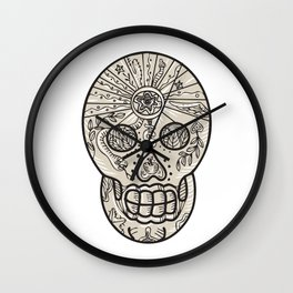 Sugar Skull Tattoo Etching Wall Clock