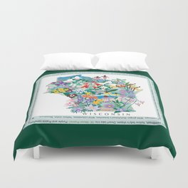 Wisconsin Wildflowers with border Duvet Cover
