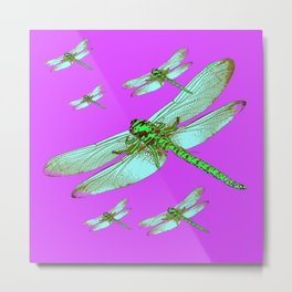 PANTENE ULTRA VIOLET PURPLE EMERALD DRAGONFLIES ART Metal Print