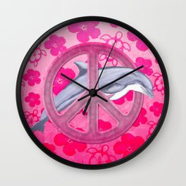 Dolphin Pink Peace Sign And Flowers Wall Clock