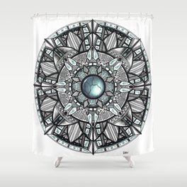 Charcoal Geometric Mandala Shower Curtain