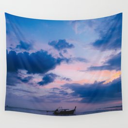Beautiful sea sunset and long tail boat. Krabi. Thailnd. Wall Tapestry