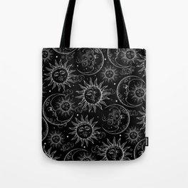 Black Magic Celestial Sun Moon Stars Tote Bag