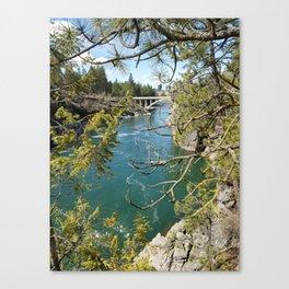 Beautiful Old Bridge Over The Spokane River, Trees, Water, Bridge Canvas Print