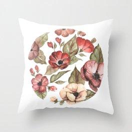 Circular Pink Florals Throw Pillow