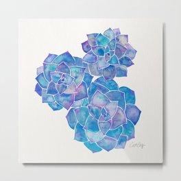 Rosette Succulents – Blue Palette Metal Print