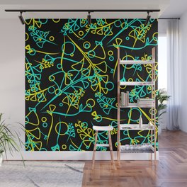 Botanical bright pattern of goffed and yellow plants and grass blades on a black background. Wall Mural
