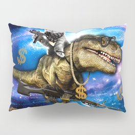 Cat Kitty Travel through Galaxy on Dinosaur T-rex with Guns and Golden chains Swag money dollars Pillow Sham
