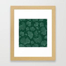 Silhouettes of ginkgo leaves on dark background Framed Art Print
