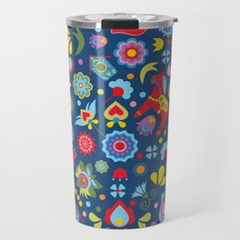 Swedish Folk Art Garden Travel Mug
