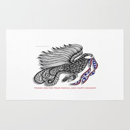 Veterans Happy Holiday and Thank You for Your Service - Zentangle Illustration Rug