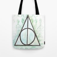 deathly hallows Tote Bags featuring Deathly Hallows by Carmen McCormick
