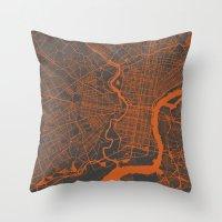 philadelphia Throw Pillows featuring Philadelphia 2 by Map Map Maps