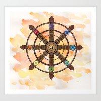 buddhism Art Prints featuring Buddhism Dharma Wheel by Rachael Amber