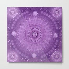 """""""Purple & Mallow Vault Mandala"""" (Silver stars) Metal Print"""