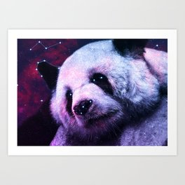 Sleepy Galaxy Giant Panda Art Print