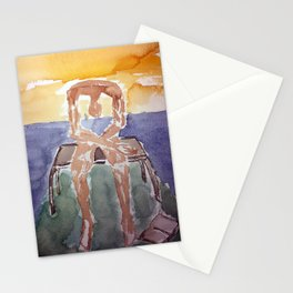 spin-off art: melancholy sculpture with dropped open book in sunset Stationery Cards