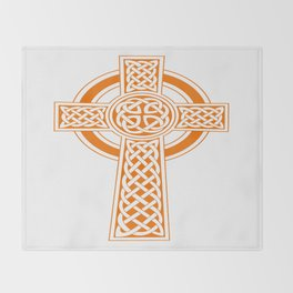 St Patrick's Day Celtic Cross Orange and White Throw Blanket