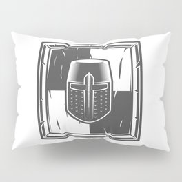 Shield and Helmet of a Medieval Knight Crusader Pillow Sham
