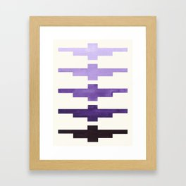 Mid Century Minimalist Ancient Aztec Inca Geometric Pattern Watercolor Purple Colorful Gouache Paint Framed Art Print