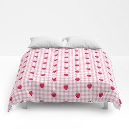 Strawberry Picnic Pattern (pink) Comforters