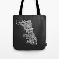 chicago map Tote Bags featuring CHICAGO MAP by Nicksman