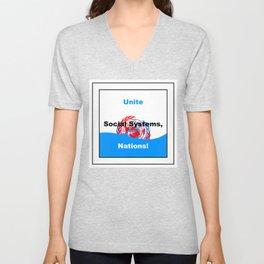 Unite Social Systems, Nations! Unisex V-Neck