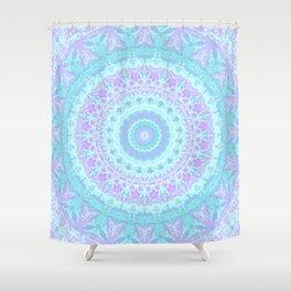 Cyan, Turquoise, and Purple Kaleidoscope Shower Curtain