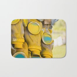 Yellow gas mask Bath Mat