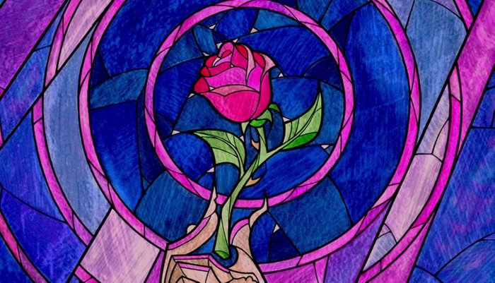 Enchanted Rose Stained Glass Pillow Sham