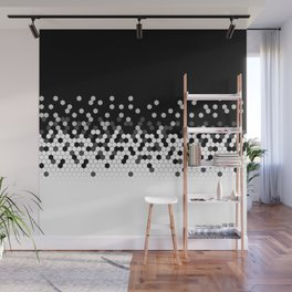 Flat Tech Camouflage Black and White Wall Mural