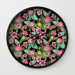 Lovebird Floral jungle tropical Wall Clock