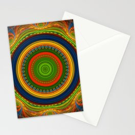 Groovy colourful fractal mandala with lace-like patterns Stationery Cards