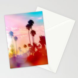 palm tree with sunset sky and light bokeh abstract background Stationery Cards