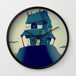 House on haunted hill vintage cartoon movie poster Wall Clock