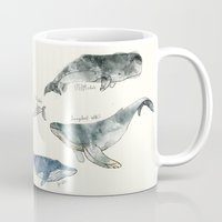 lines Mugs featuring Whales by Amy Hamilton