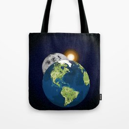 Earth Moon and Sun Tote Bag