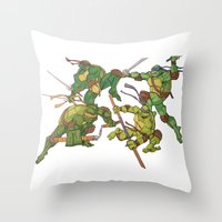 tmnt Throw Pillows featuring TMNT by Brittany Ketcham