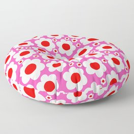 Pink Red White Pop Flowers Floor Pillow