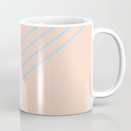 Baby Blue Peach Thin 4 Stripe Diagonal Pattern 2021 Color of the Year Wild Blue Yonder Natural Tan Coffee Mug